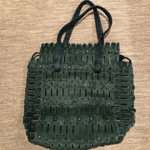 Jamin Puech green pony hair cut out tote bag